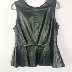 Co | Faux Leather Peplum Top